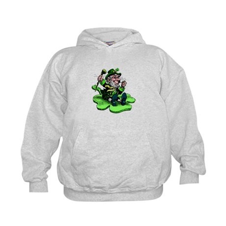 Leprechaun on Shamrock Kids Hoodie