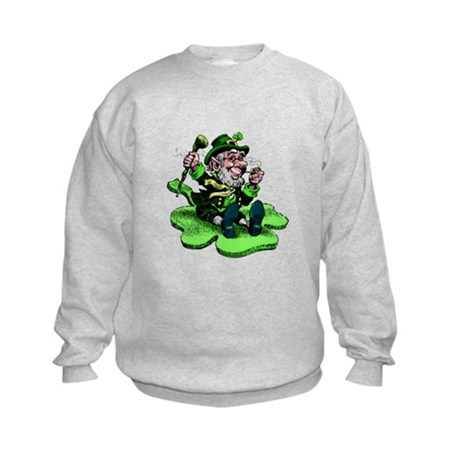 Leprechaun on Shamrock Kids Sweatshirt