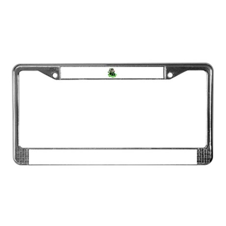 Leprechaun on Shamrock License Plate Frame