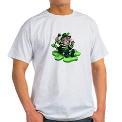 Leprechaun on Shamrock Light T-Shirt