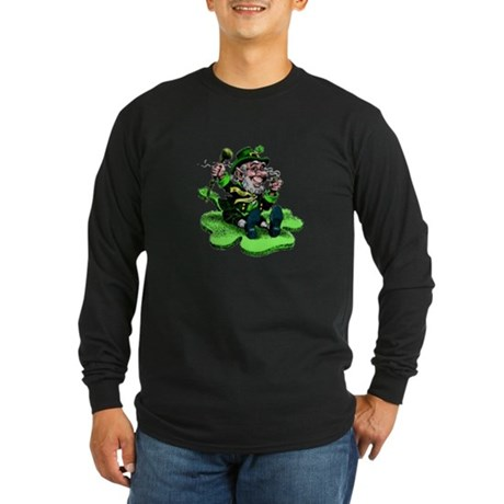 Leprechaun on Shamrock Long Sleeve Dark T-Shirt