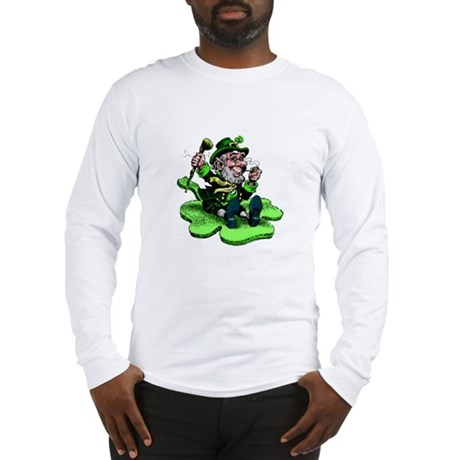 Leprechaun on Shamrock Long Sleeve T-Shirt