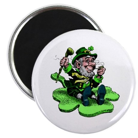 Leprechaun on Shamrock Magnet