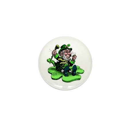Leprechaun on Shamrock Mini Button