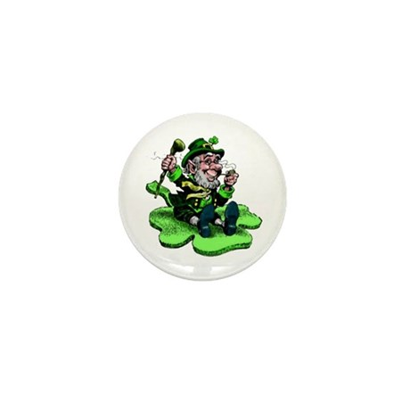 Leprechaun on Shamrock Mini Button (10 pack)