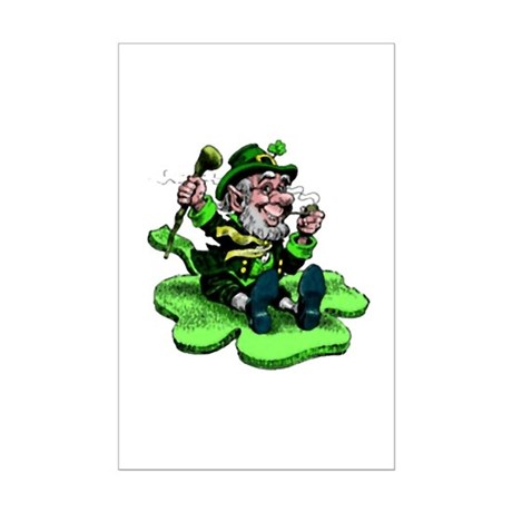 Leprechaun on Shamrock Mini Poster Print