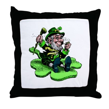 Leprechaun on Shamrock Throw Pillow