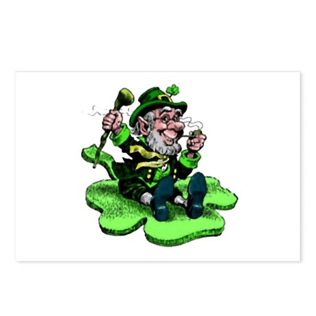 Leprechaun on Shamrock Postcards (Package of 8)