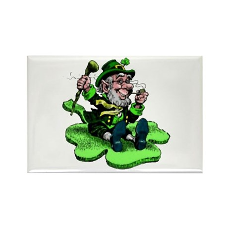 Leprechaun on Shamrock Rectangle Magnet