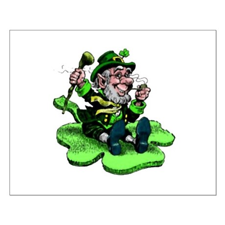 Leprechaun on Shamrock Small Poster