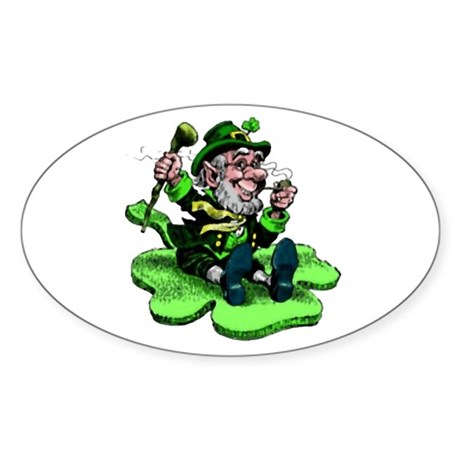 Leprechaun on Shamrock Oval Sticker