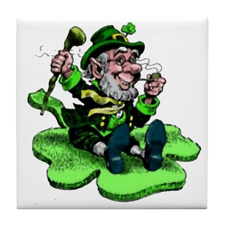 Leprechaun on Shamrock Tile Coaster