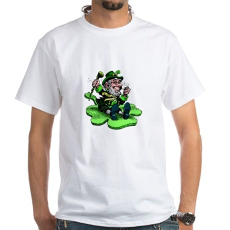 Leprechaun on Shamrock White T-Shirt
