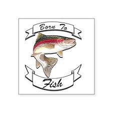 """born to fish trout dark Square Sticker 3"""" x 3"""""""