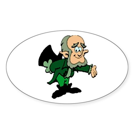 Leprechaun Bowing Oval Sticker