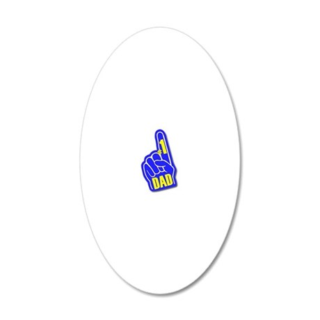 Number 1 Dad Hand Blue Yello 20x12 Oval Wall Decal