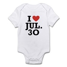 I Heart July 30 Infant Bodysuit