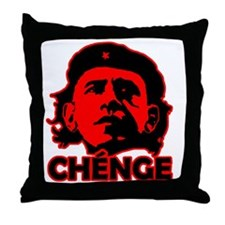 Che-Bama v4 Black On Red Throw Pillow