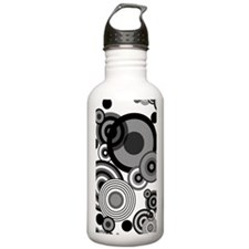 BW circles journal Water Bottle