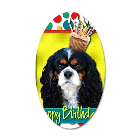 BirthdayCupcakeCavalierKingC 35x21 Oval Wall Decal
