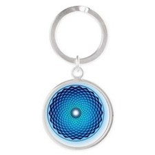 1000 Petal Lotus Crop-Circle Round Keychain