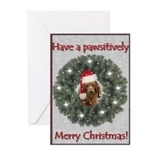 Christmas Dachshund in a Pine Wreath Greeting Card