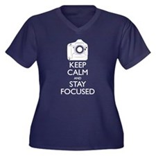 Keep Calm and Stay Focused (White) Plus Size T-Shi