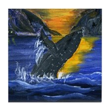 Whale at Sunset Tile Coaster