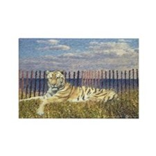 Tiger on the Beach Rectangle Magnet (100 pack)