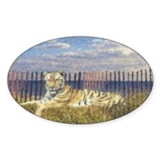 Tiger on the Beach Oval Decal