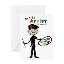 Messy Artist At Work Boys Greeting Card