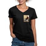 Red Bald West Women's V-Neck Dark T-Shirt