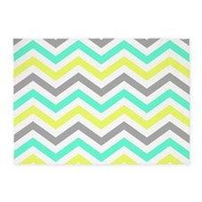 yellow,aqua and gray chevrons pattern 5'x7'Area Ru