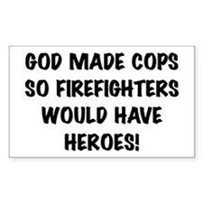 God Made Cops Rectangle Decal