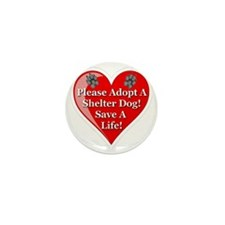 adopt_a_shelter_dog_white_transparent Mini Button