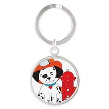 Dalmation Fire Dog Round Keychain