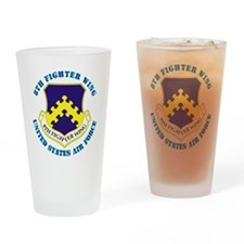 8th-Fighter-Wing-txt Drinking Glass