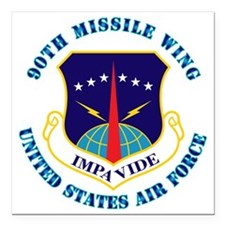 "90th-Missile-Wing-Txt Square Car Magnet 3"" x 3"""