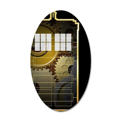 Steampunk TARDIS 35x21 Oval Wall Decal