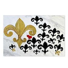 Black  gold Fleur de lis  Postcards (Package of 8)