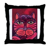 Melon the pink Cat Throw Pillow