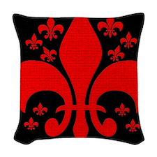 Red Fleur de lis Woven Throw Pillow