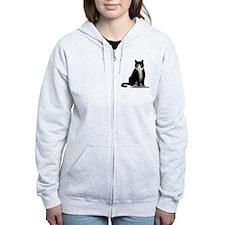 Tuxedo Kitty Cat Zip Hoodie