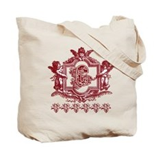 Initial C Maroon Cherub Fancy Monogram Tote Bag