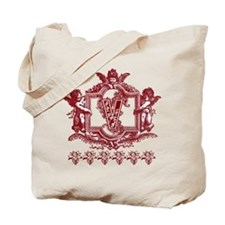 Initial V Maroon Cherub Fancy Monogram Tote Bag