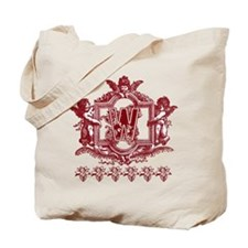 Initial W Maroon Cherub Fancy Monogram Tote Bag