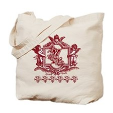 Initial X Maroon Cherub Fancy Monogram Tote Bag