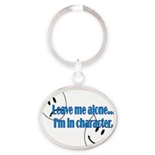 Leave me alone masks 2.gif Oval Keychain