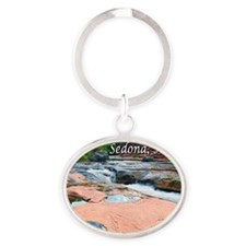 slide rock waterfalls_text top Oval Keychain
