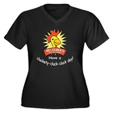 Mr Cluck1 Women's Plus Size Dark V-Neck T-Shirt